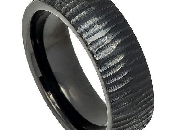 Black Tungsten Carved Gents Band