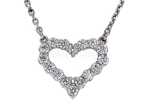 14kt White Gold 0.65ctw Round Diamond Heart Pendant
