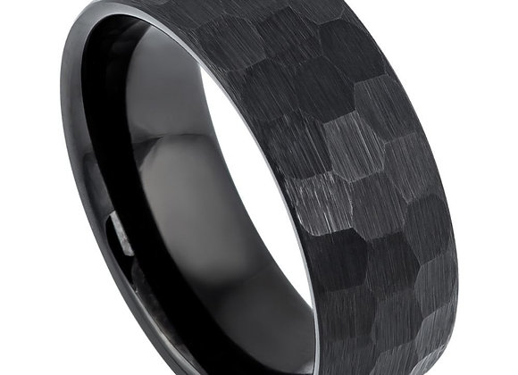 Black Tungsten Chiseled Gents Band With Brushed Accents