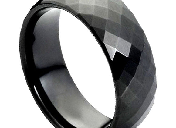 Black Tungsten Faceted Gents Band
