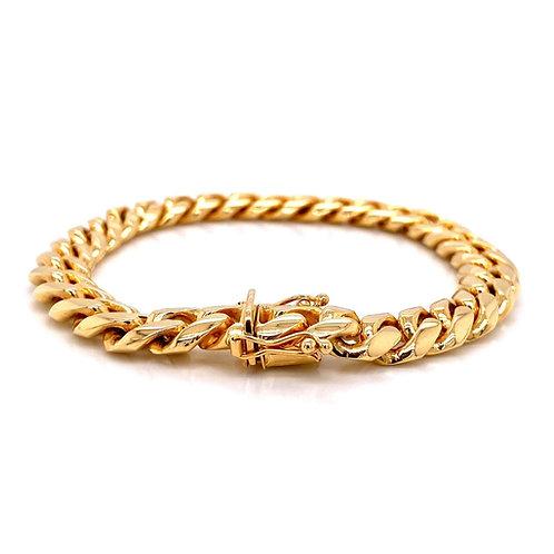 "14kt Yellow Gold 9"" 9.4mmMiami Cuban Box Clasp Bracelet"