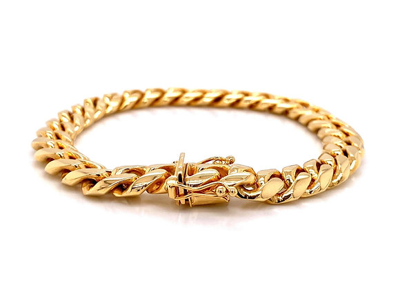 "14kt Yellow Gold 9"" 9.4mm Miami Cuban Box Clasp Bracelet"