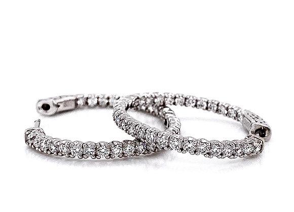 14kt White Gold 1.90ctw Round Diamond Hoop Earrings