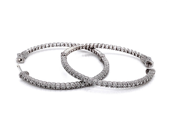 14kt White Gold 1.85ctw Round Diamond Hoop Earrings
