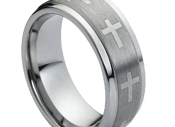 Gray Tungsten Crosses Gents Band With Brushed Accents