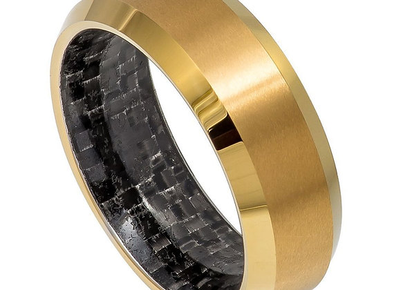 Yellow Gold Tungsten Gents Band