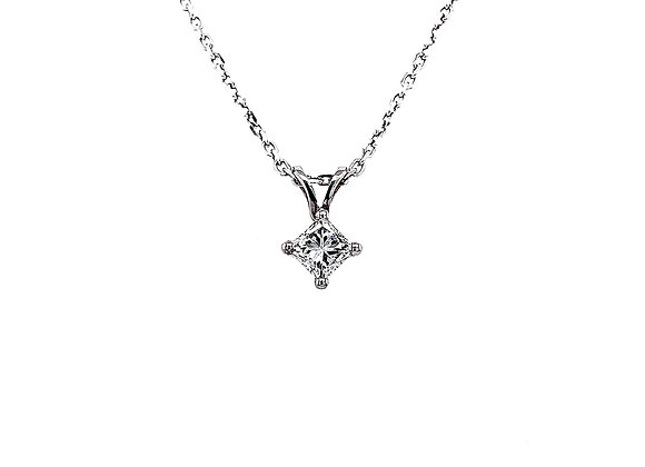 14kt White Gold 0.46ct Princess Cut Diamond Solitaire Pendant