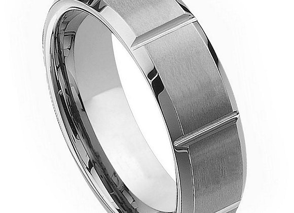 Gray Tungsten Gents Band With Notch Accents