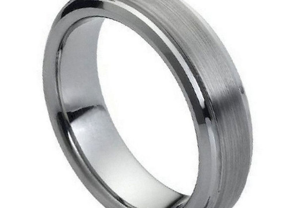 Gray Tungsten Gents Band With Brushed Accents