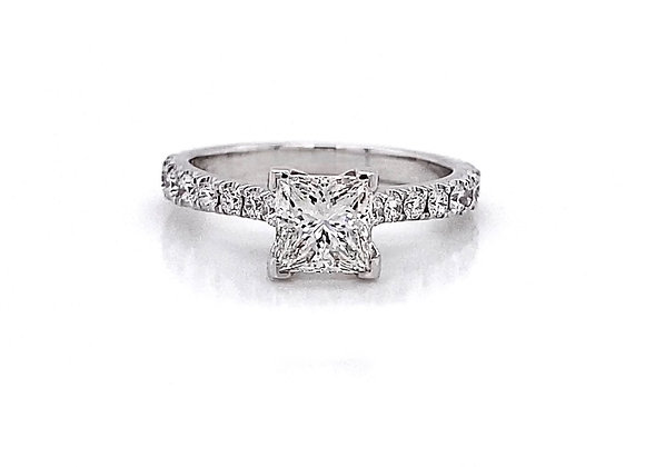 14kt White Gold 1.15ctw Princess Cut Diamond Side Stone Ring