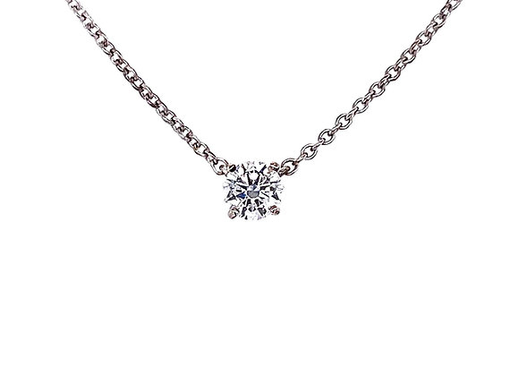 14kt White Gold Ladies 0.24ct Round Diamond Solitaire Pendant
