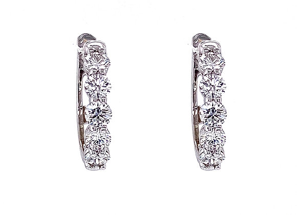 14kt White Gold Ladies Round Diamond Mini Hoop Earrings