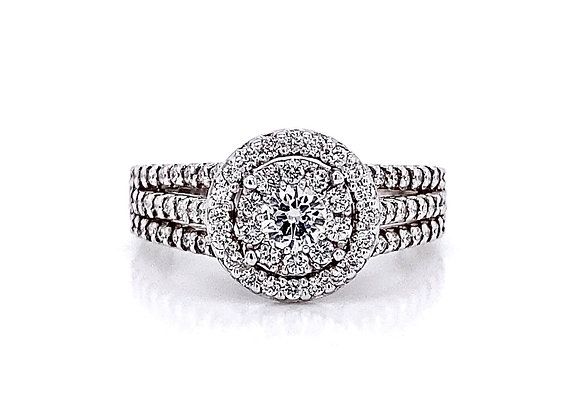 14kt White Gold 0.81ctw Round Diamond Double Halo Ring