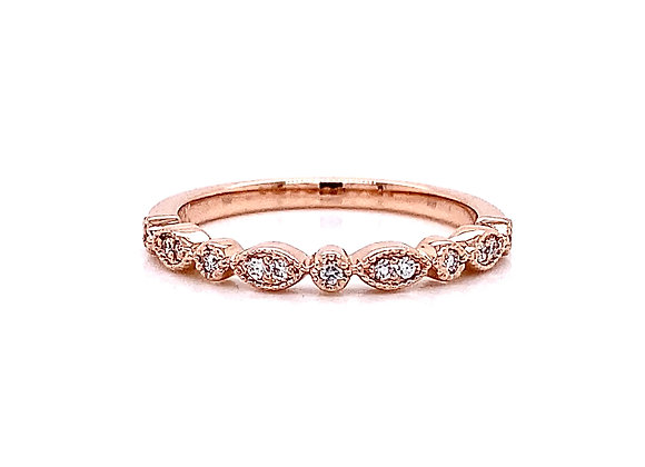 14kt Rose Gold Round Diamond Band