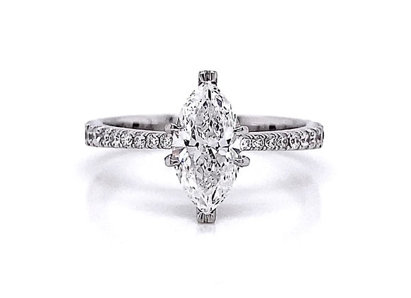 14kt White Gold 1.39ctw Marquise Cut Diamond Side Stone Ring