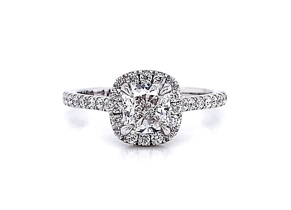 14kt White Gold 1.14ctw Cushion Cut Halo Diamond Ring