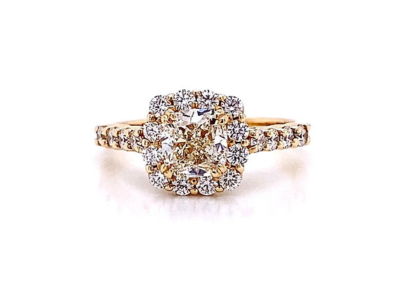 14kt Yellow Gold 1.67ctw Cushion Cut Diamond Halo Ring