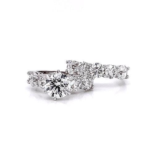 14kt White Gold 5.74ctw Round Diamond Wedding Set