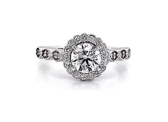 14kt White Gold 1.20ctw Round Diamond Halo Side Stone Ring