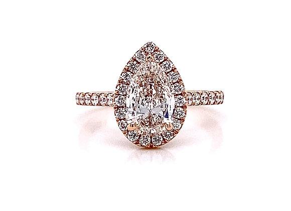 14kt Rose Gold 1.41ctw Pear Shape Diamond Halo Ring