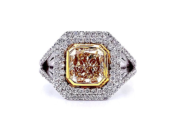 18kt Two-Tone Gold 2.68ctw Fancy Yellow Radiant Cut Diamond Halo Ring