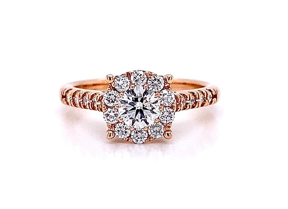 14kt Rose Gold 0.82ctw Round Diamond Halo Ring