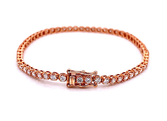 14kt Rose Gold 2.20ctw Round Diamond Bracelet