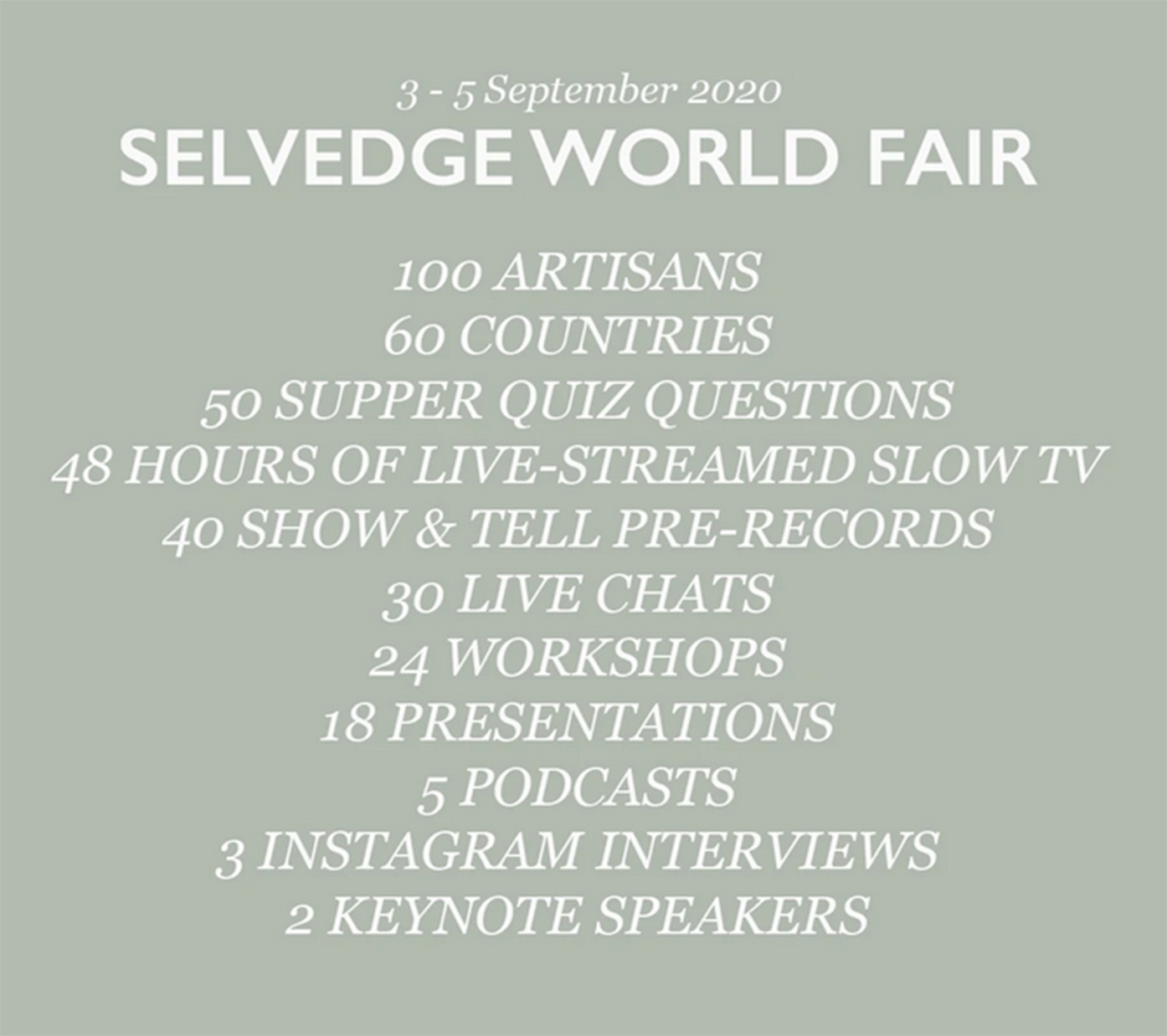 SELVEDGE WORLD FAIR