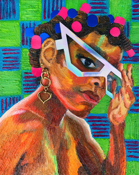 Girl With Glasses and Hair Rollers by Brejenn Allen