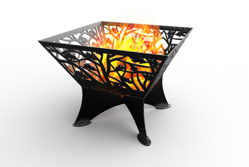 Square fire pit on stand