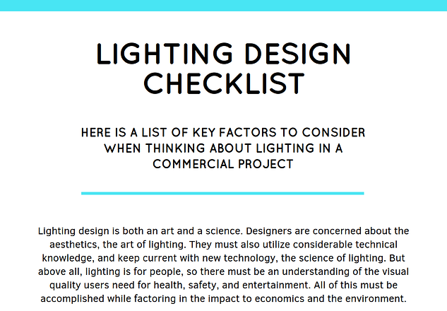 Lighting Design Checklist