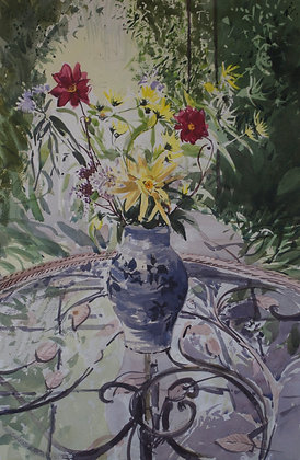 Flowers on a Glass Table   - SOLD