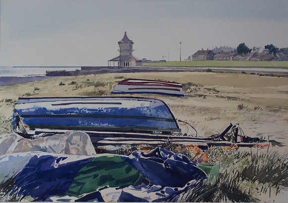 Boats and Tower, Harwich Beach - SOLD