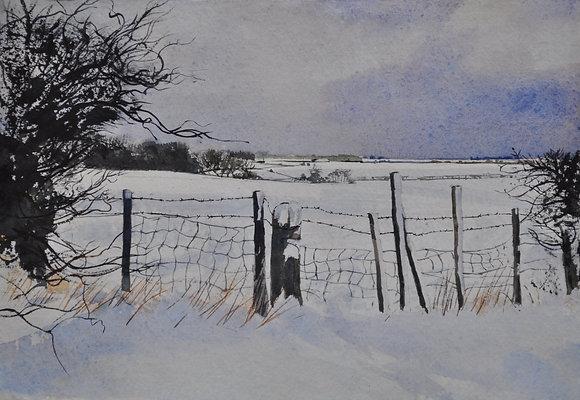 Winter Fence Towards Mistley