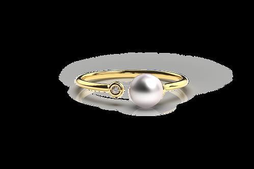 Open Pearl Diamond Ring