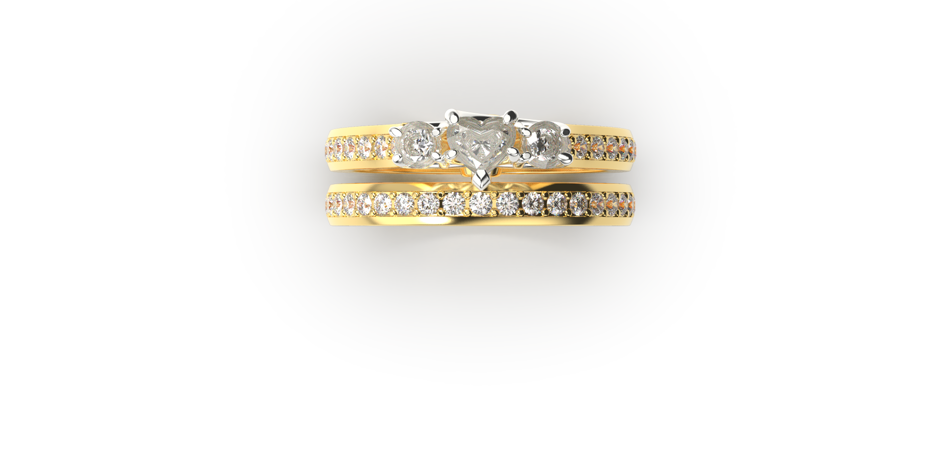 Bruce Trick - Heart Diamond Ringset top.