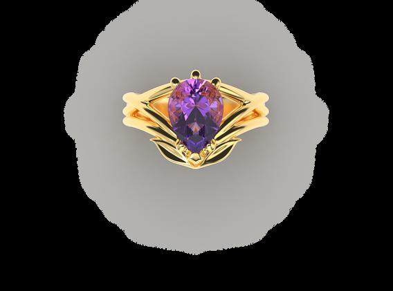 Bruce Trick - Gold Tanzanite Ring top.pn