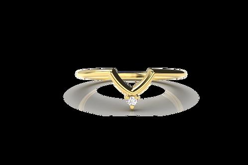 Single Diamond Chevron Ring