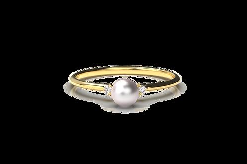 Simple Pearl Diamond Ring