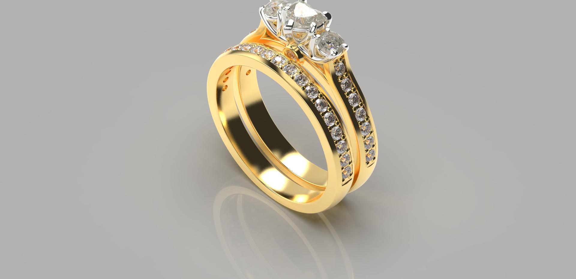 Bruce Trick - Heart Diamond Ringset pers