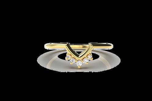 Five Diamond Chevron Ring