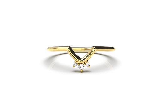 Three Diamond Chevron Ring