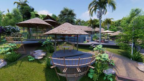 Restaurant, terrasses et bassins