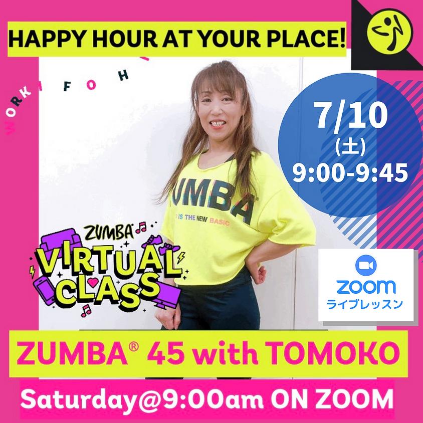 ★7/10(土)9:00~ ZUMBA® 45分【Zoomライブレッスン】(TOMOKO)