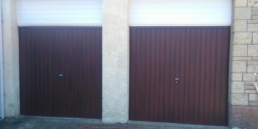 2up and over garage doors pair in rosewo