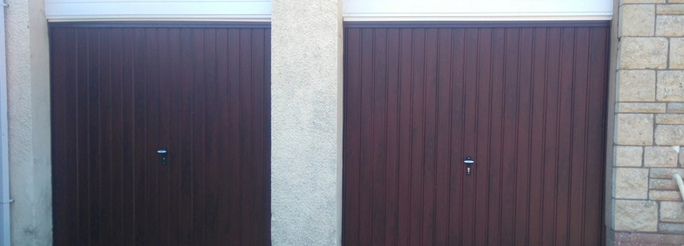 2up and over garage doors pair in rosewo