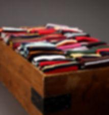 Striped socks in a wooden box