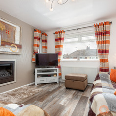 Bright bedroom with inset fireplace