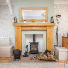 Feature fireplace with log burner