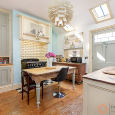 Farmhouse feel kitchen with a skylight